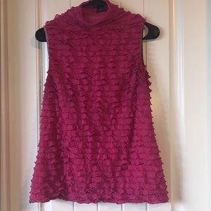 Sleeveless mock turtleneck dress shirt